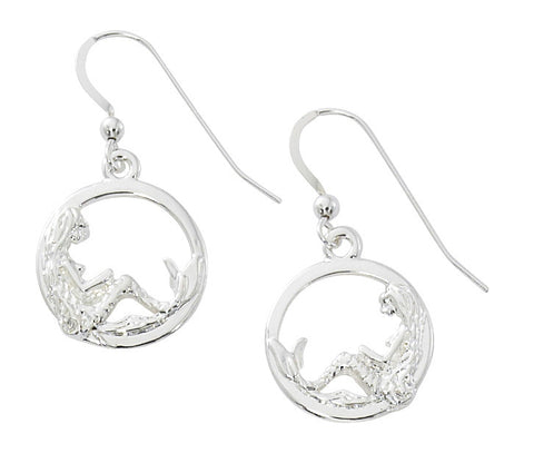 Mermaid in Circle Drop Earrings MM904