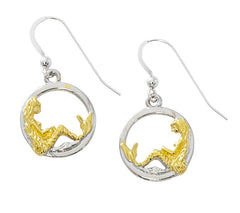 Wholesale fashion Mermaid in circle earrings two tone pewter with sterling silver and 24 karat gold finish USA made