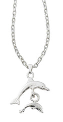 Wholesale double dolphin necklace in pewter with silver or gold finish. USA made