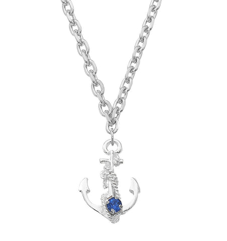 Layered Sterling Anchor Necklace NK544