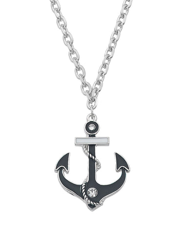 Layered Sterling and Epoxy with Swarovski Crystal Anchor Necklace NK550
