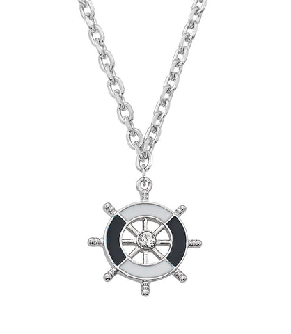 Layered Sterling and Epoxy with Swarovski Crystal Ship Wheel Necklace NK551