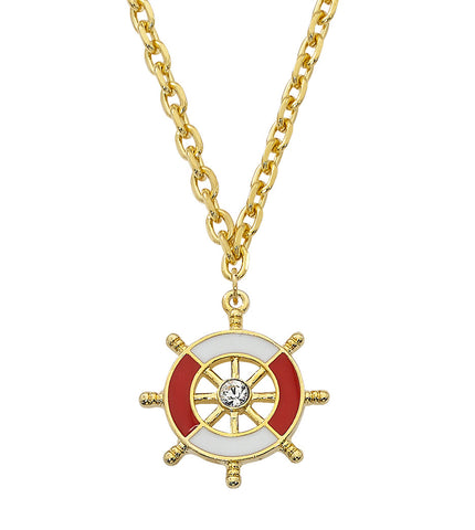Layered 24K Gold and Epoxy with Swarovski Crystal Ship Wheel Necklace NK553