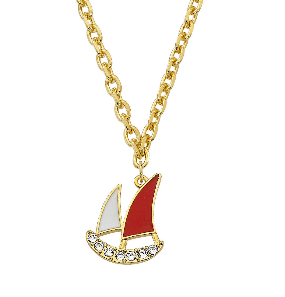 Pewter Schooner Boat Charm Necklace Nautical
