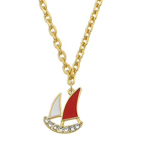 Layered 24K Gold and Epoxy Sailboat with Swarovski Crystals Necklace NK554
