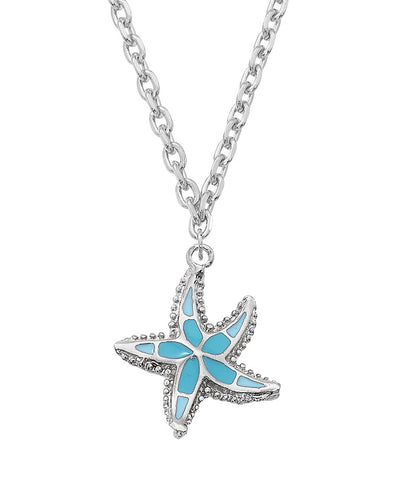 Layered Sterling and Epoxy Starfish Necklace NK556