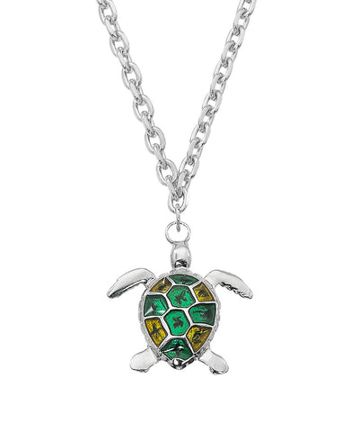 Layered Sterling with Epoxy Turtle Necklace NK561