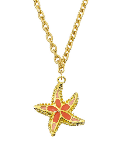Layered 24K Gold with Epoxy Starfish Necklace NK562