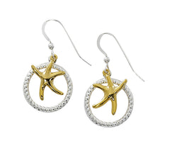 Two tone dancing starfish drop earrings. Pewter with silver and gold finish. USA made, wholesale