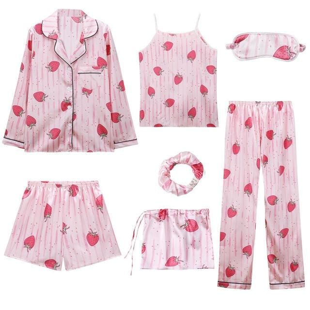 Angela 7 Pieces Pajamas Set - 2 / L