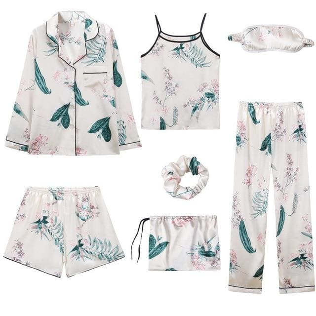 Angela 7 Pieces Pajamas Set - 3 / L