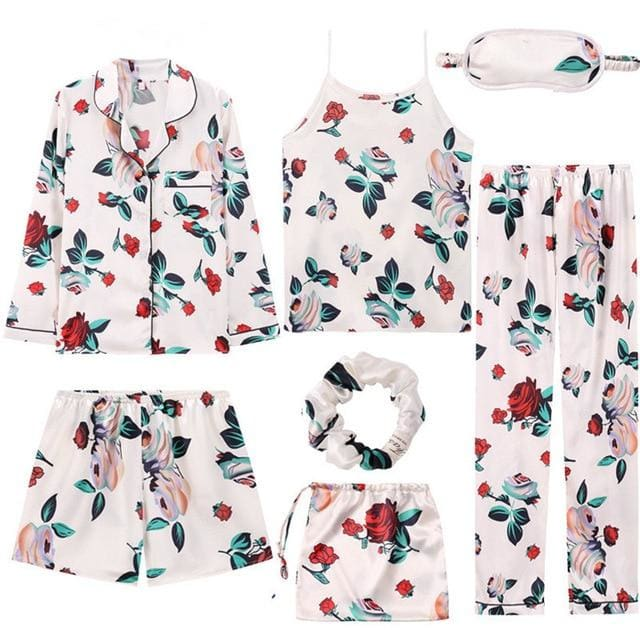 Angela 7 Pieces Pajamas Set - 4 / L