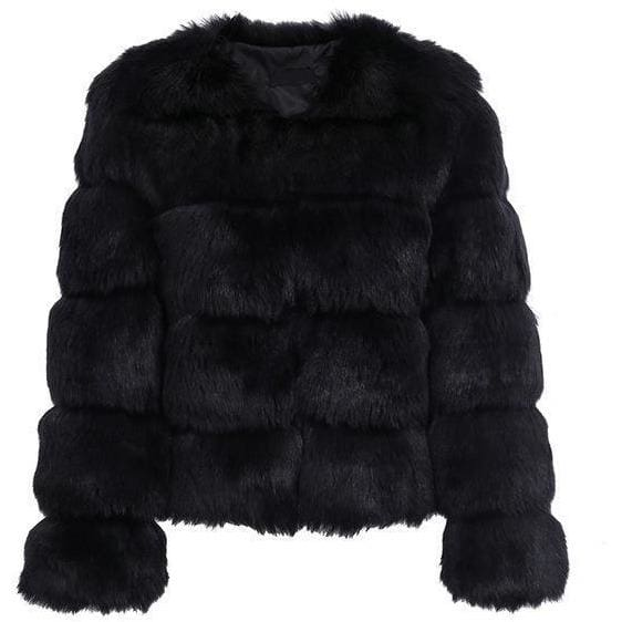 Antique Vintage Fluffy Faux Fur Coat - Black / S