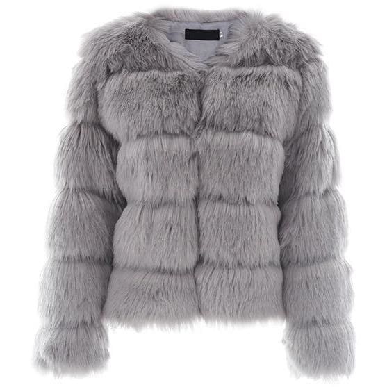 Antique Vintage Fluffy Faux Fur Coat - Gray / S