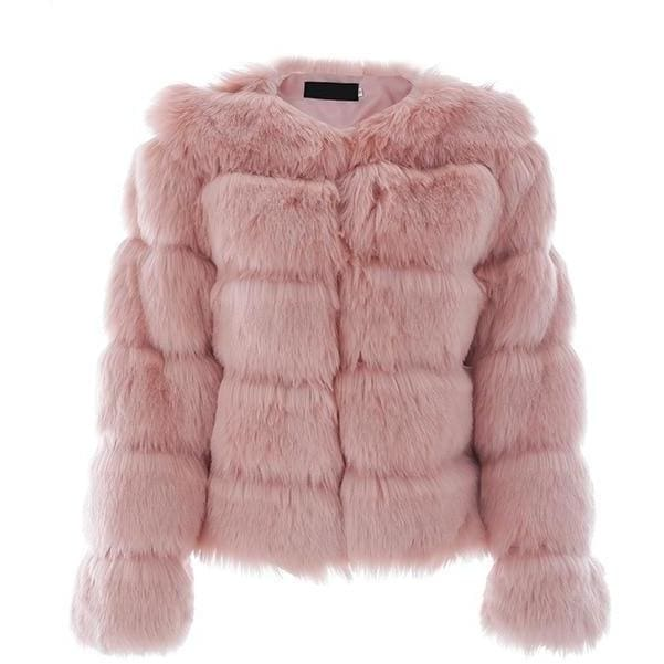 Antique Vintage Fluffy Faux Fur Coat - Pink / S