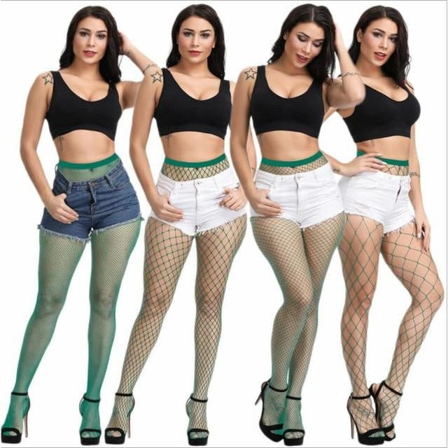 Attractive Multicolor Fishnet Stockings - Turquoise / Larger fishnet