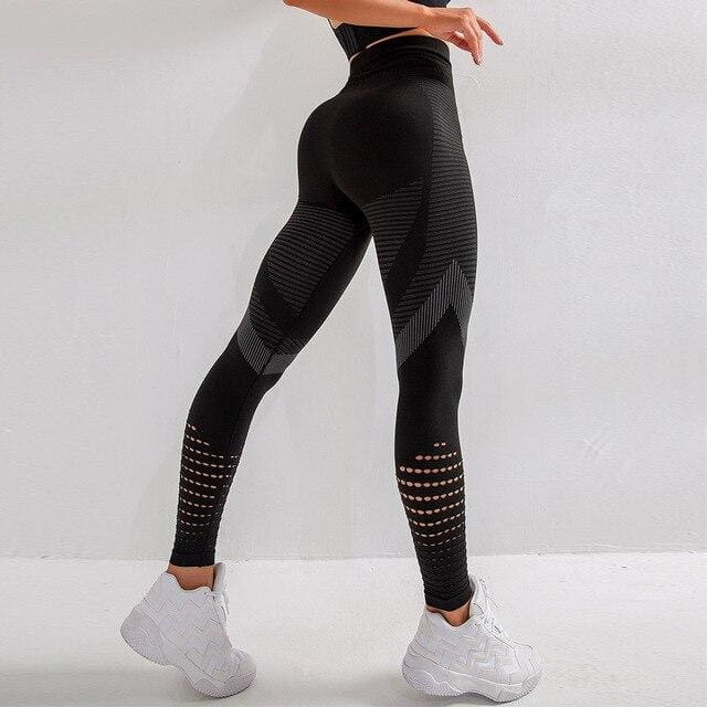 Breathable High Waist Running Pants - Black / S