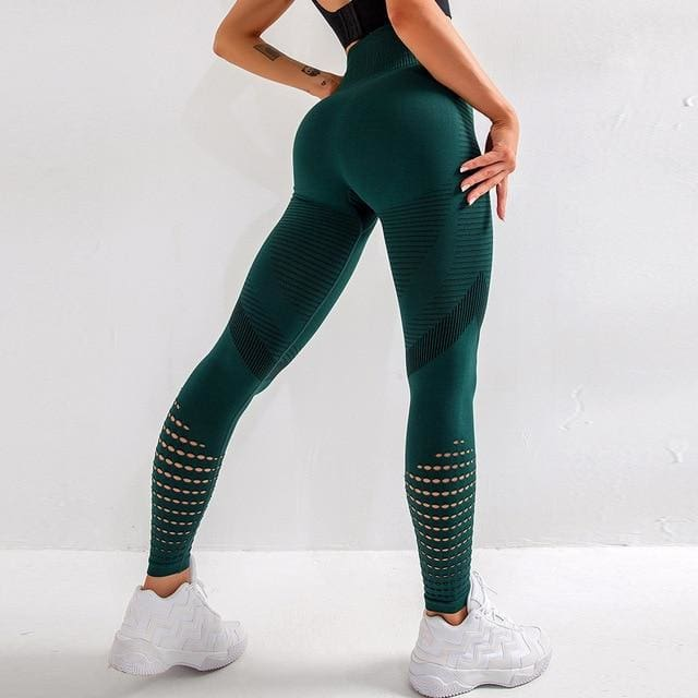 Breathable High Waist Running Pants - green / M