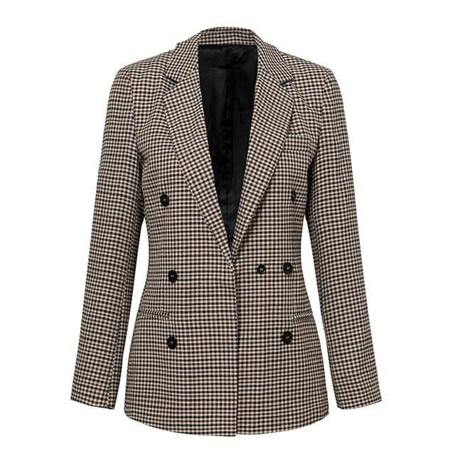 Brilliance Double Breasted Plaid Blazer - Khaki / S