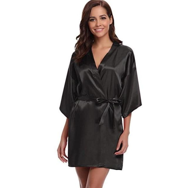 Classic Silk Satin Bathrobe - black / S