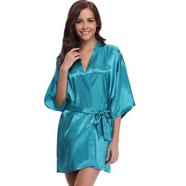 Classic Silk Satin Bathrobe - lake blue / S