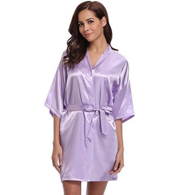Classic Silk Satin Bathrobe - lavender / S