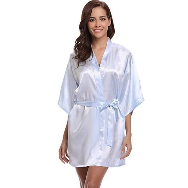 Classic Silk Satin Bathrobe - light blue / S