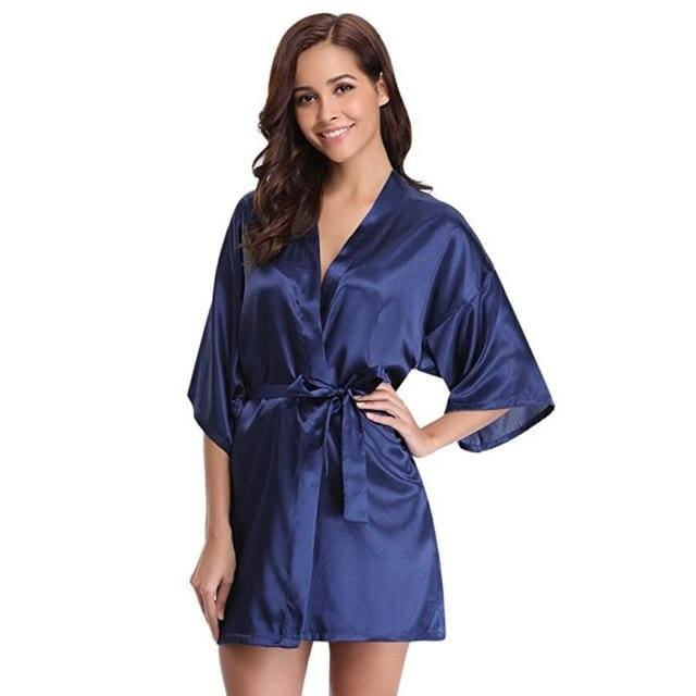 Classic Silk Satin Bathrobe - navy / S