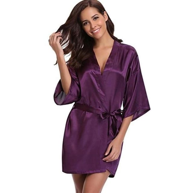 Classic Silk Satin Bathrobe - purple / S