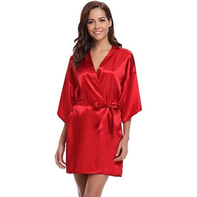 Classic Silk Satin Bathrobe - red / S