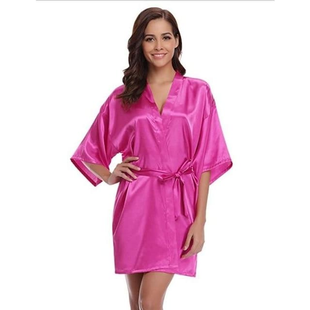 Classic Silk Satin Bathrobe - rosered / S