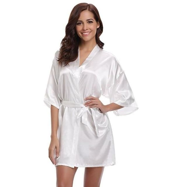 Classic Silk Satin Bathrobe - white / S