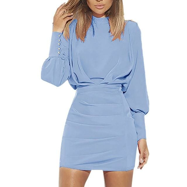 Confidence O-Neck Long Sleeve Dress - Blue / S / China