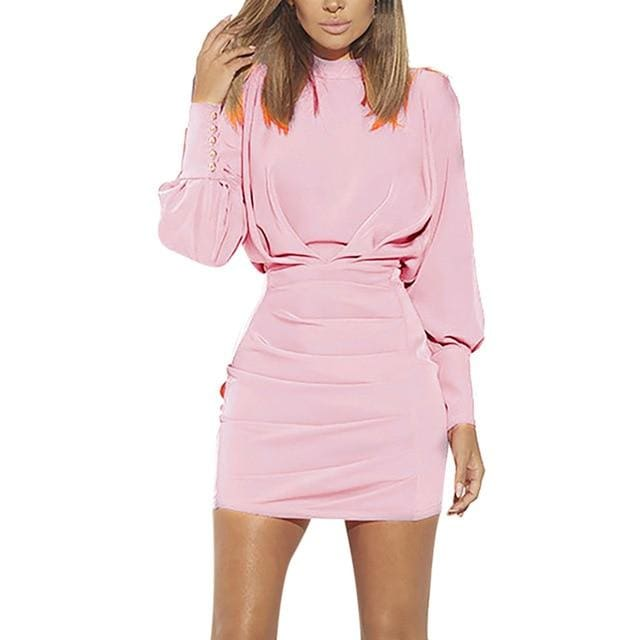 Confidence O-Neck Long Sleeve Dress - Pink / S / China