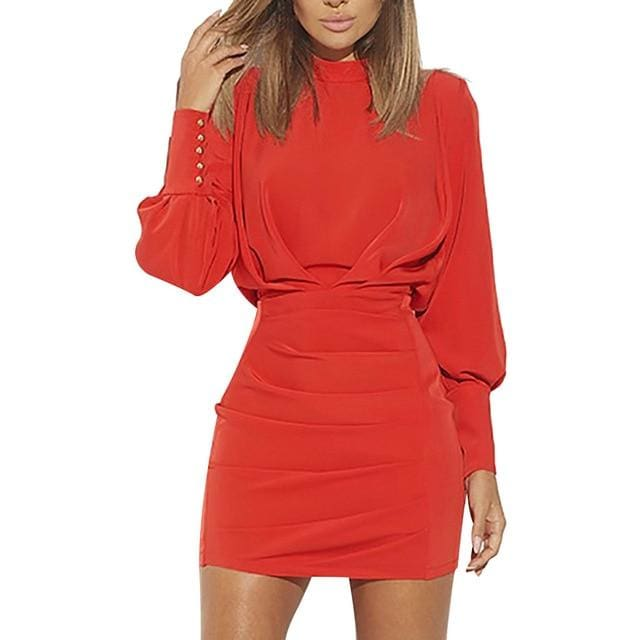 Confidence O-Neck Long Sleeve Dress - Red / S / China