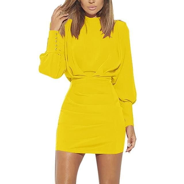 Confidence O-Neck Long Sleeve Dress - YELLOW / S / China