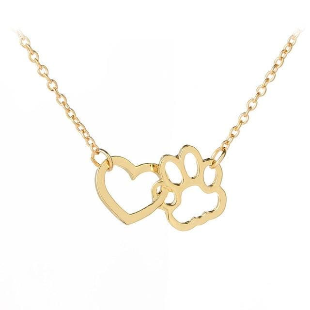 Hollow Pet Paw Footprint Necklaces - Gold