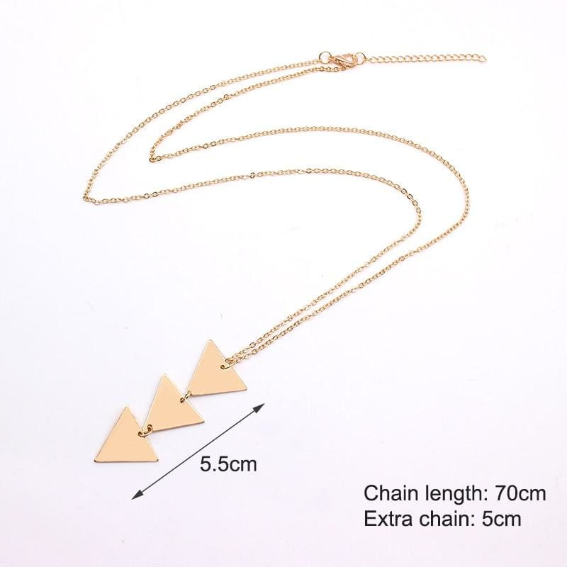 Pendant Necklace triangle Long Chain