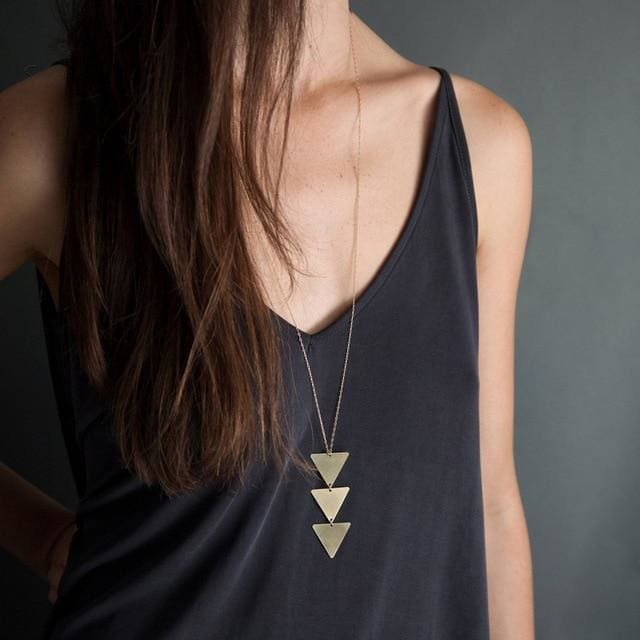 Pendant Necklace triangle Long Chain - NO1 gold