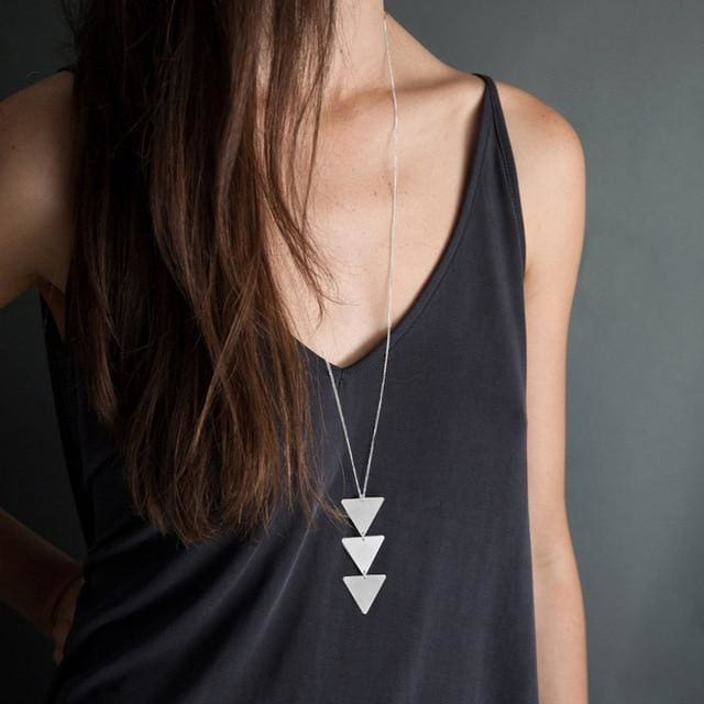 Pendant Necklace triangle Long Chain - NO2 silver