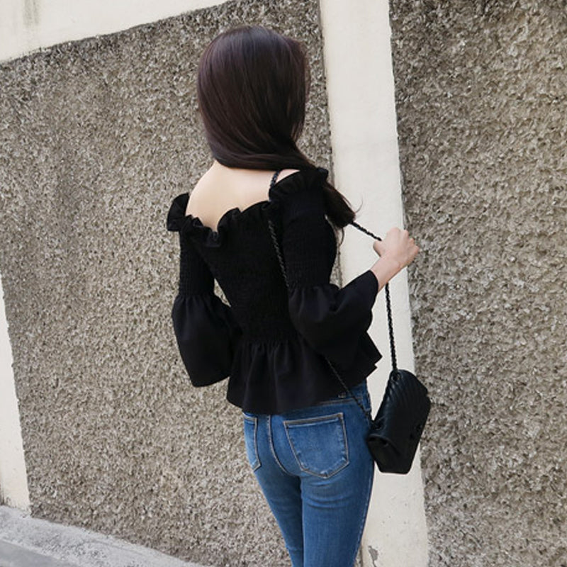 'Simple' High quality Flare Sleeve Off-Shoulder Top