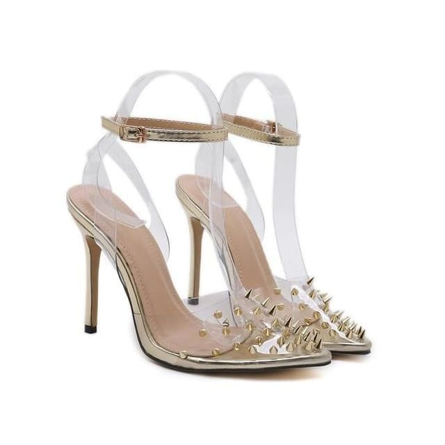 Sexy Clear Crystal High Heels - Gold / 4