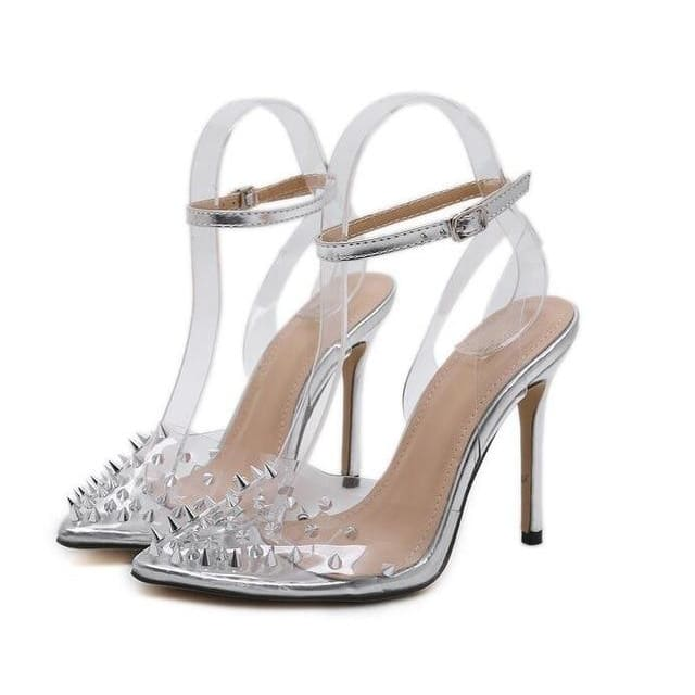 Sexy Clear Crystal High Heels - Silver / 4