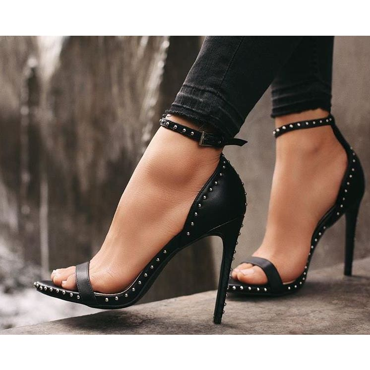 Spiky Strappy Buckle High Heels Sandals