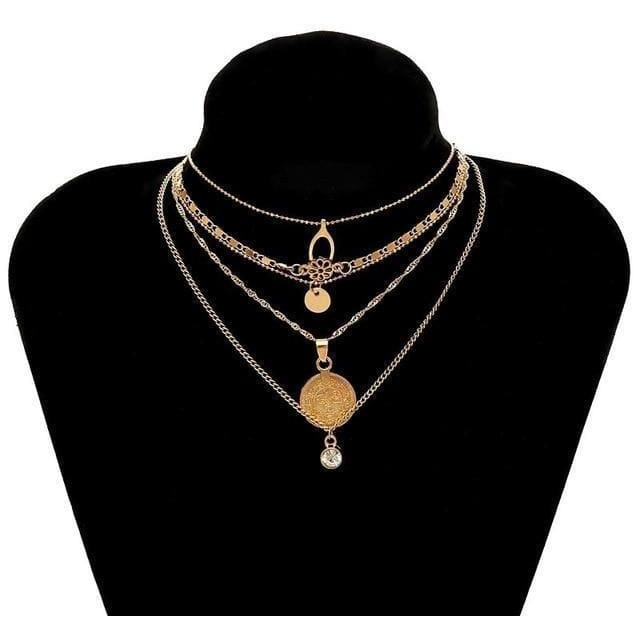 Splendid Round Coin Multilayer Gold Necklace