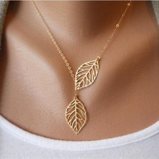 Two Leaves Pendant Clavicle Necklace - gold