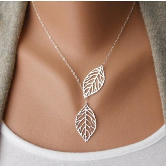 Two Leaves Pendant Clavicle Necklace - silver