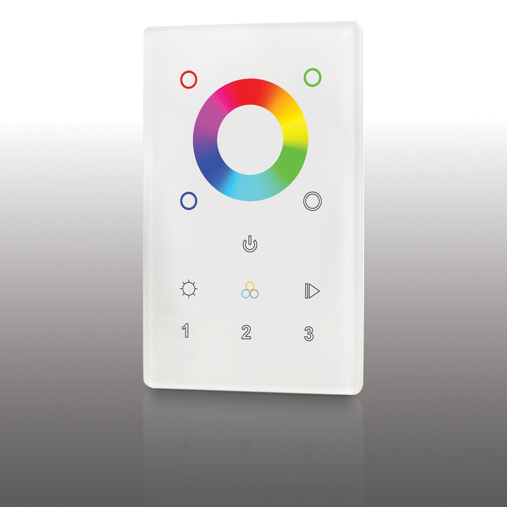 glossy white multicolor remote with color wheel and sleek buttons for color changing led