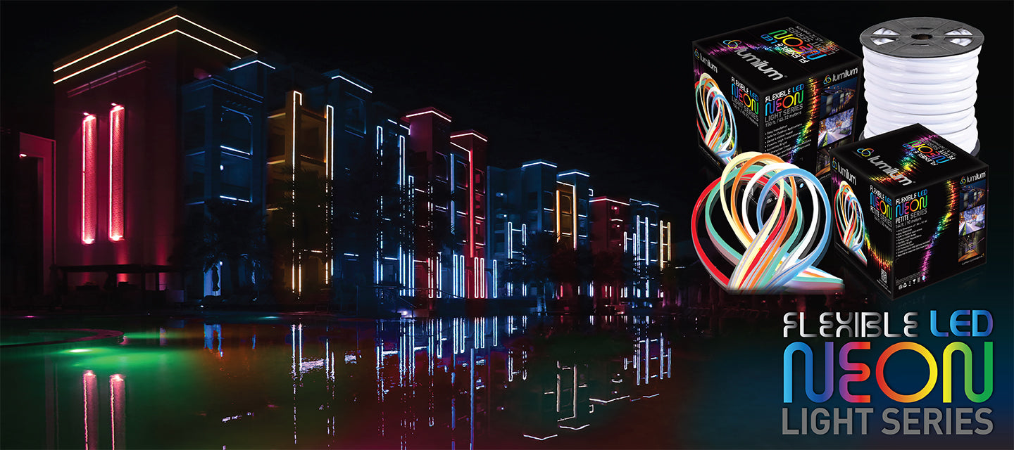 Tall waterfront buildings illuminated by Lumilum 120V RGB Neon Strip Lights, colorful reflection visible in the water and product packaging is featured on right of banner