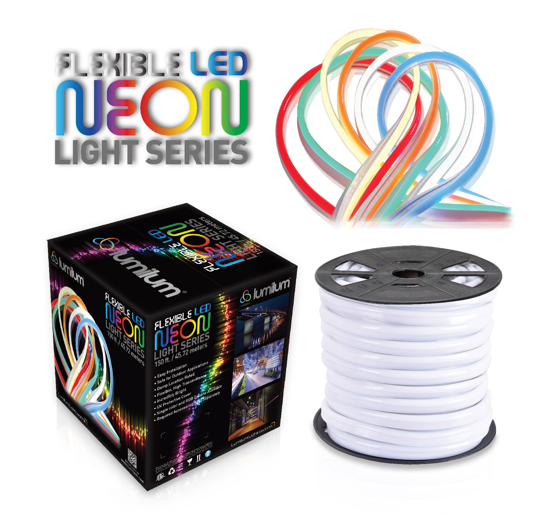 lumilum brand led neon light black and multicolor packaging with colorful strip lights and reel displayed on right